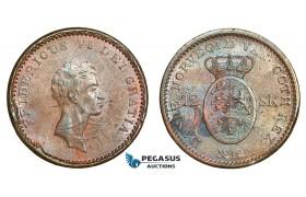 AA757, Denmark, Frederik VI, 12 Skilling 1812 (Overstruck on 1 Sk. 1771) Copenhagen, AU-UNC