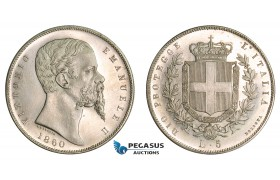 AA761, Italy, Emilia, Vittorio Emanuele II, 5 Lire 1860, Bologna, Silver, ex. Proof, Extremely Rare!