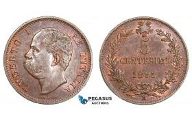 AA762, Italy, Umberto I, 5 Centesimi 1895-R, Rome, Cleaned UNC