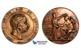 AA776, Luxembourg, Adolhpe, Cast Bronze Medal 1894 (Ø66mm, 114g)  Industry Exhibition, Rare!