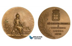 AA779, Portugal, Bronze Art Nouveau Medal 1908 (Ø45mm, 44g) Lisbon Telegraph International Conference