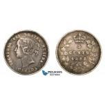 AA800, Canada, Victoria, 5 Cents 1887, Silver, Toned VF