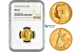 AA824, Italy, Vitt. Emanuele III, 20 Lire 1912-R, Rome, Gold, NGC MS62