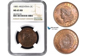 AA825, Argentina, 2 Centavos 1885, NGC MS65RB, Pop 1/0