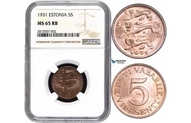 AA826, Estonia, 5 Senti 1931, NGC MS65RB, Pop 1/0