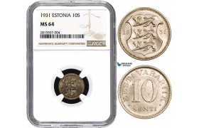 AA828, Estonia, 10 Senti 1931, NGC MS64