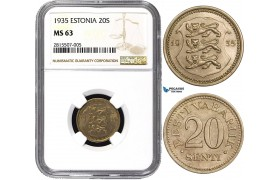 AA829, Estonia, 20 Senti 1935, NGC MS63