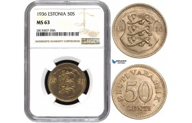 AA830, Estonia, 50 Senti 1936, NGC MS63