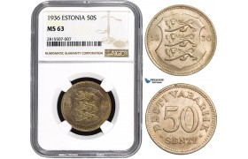 AA831, Estonia, 50 Senti 1936, NGC MS63