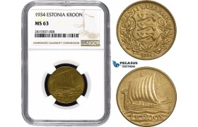 AA832, Estonia, 1 Kroon 1934, NGC MS63