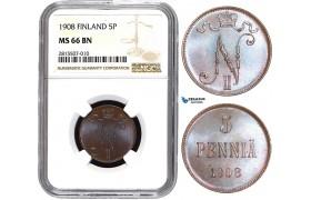 AA834, Finland (under Russia) Nicholas II, 5 Penniä 1908, NGC MS66BN, Pop 1/0