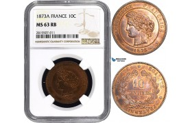 AA835, France, Third Republic, 10 Centimes 1873-A, Paris, NGC MS63RB