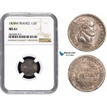 AA836, France, Napoleon I, Demi (1/2) Franc 1808-W, Lille, Silver, NGC MS61, Pop 1/0
