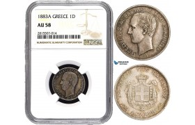 AA838, Greece, George I, 1 Drachma 1883-A, Paris, Silver, NGC AU58