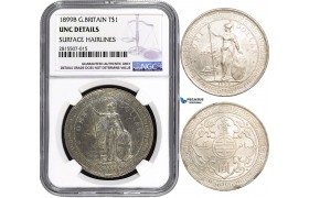 AA839, Great Britain, Trade Dollar 1899-B, Bombay, Silver, NGC UNC Det.