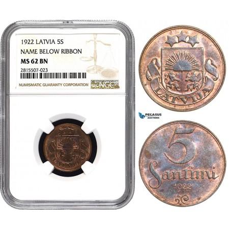 AA847, Latvia, 5 Santimi 1922, NGC MS62BN