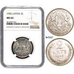 AA849, Latvia, 2 Lati 1926, Silver, NGC MS64