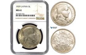 AA850, Latvia, 5 Lati 1929, Silver, NGC MS61