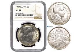 AA851, Latvia, 5 Lati 1929, Silver, NGC MS62