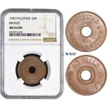 AA853, Palestine, 10 Mils 1942, London, Bronze, NGC MS62BN