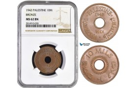 AA853, Palestine, 10 Mils 1942, London, Bronze, NGC MS62BN