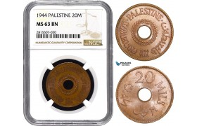 AA854, Palestine, 20 Mils 1944, London, NGC MS63BN, Rare!
