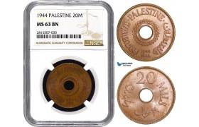AA854, Palestine, 20 Mils 1944, London, NGC MS63BN, Rare!