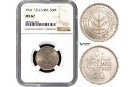 AA855, Palestine, 50 Mils 1931, London, Silver, NGC MS62, Very Rare!