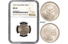 AA855, Palestine, 50 Mils 1931, London, Silver, NGC MS62, Very Rare!