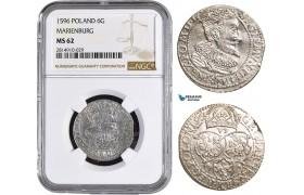AA856, Poland, Sigismund III, 6 Groschen 1596, Marienburg, Silver, NGC MS62