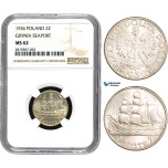 AA857, Poland, 2 Zlote 1936 (Gdynia Seaport) Silver, NGC MS62