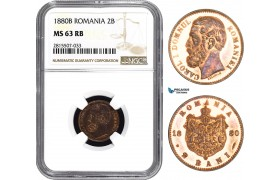 AA858, Romania, Carol I, 2 Bani 1880-B, Bucharest, NGC MS63RB