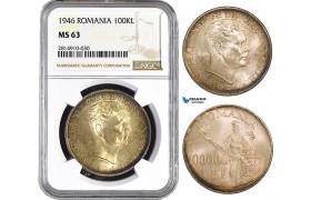 AA860, Romania, Mihai I, 100000 Lei 1946, Silver, NGC MS63