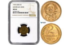 AA867, Russia (USSR) 2 Kopeks 1935 (Uncircled arms) Leningrad, NGC MS64