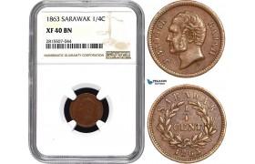 AA868, Sarawak, J. Brooke Rajah, 1/4 Cent 1863, NGC XF40BN