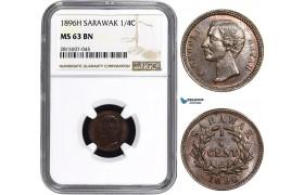 AA869, Sarawak, C. Brooke Rajah, 1/4 Cent 1896-H, Heaton, NGC MS63BN