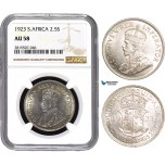 AA870, South Africa, George V, 2 1/2 Shillings 1923, Pretoria, Silver, NGC AU58
