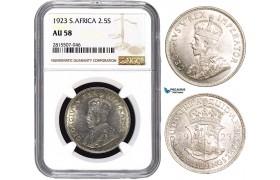 AA870, South Africa, George V, 2 1/2 Shillings 1923, Pretoria, Silver, NGC AU58