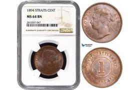 AA871, Straits Settlements, Victoria, 1 Cent 1894, NGC MS64BN, Pop 1/0, Finest! Rare!