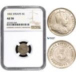 AA873, Straits Settlements, Edward VII, 5 Cents 1902, NGC AU58
