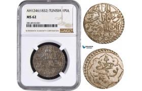 AA874, Tunisia, Husayn II, 1 Piastre AH1246 (1832) Silver, NGC MS62