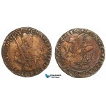 AA884, Netherlands, Bronze Token c. 1520 (Ø28mm, 3.9g) Charles V (Quint), Dugniolle 1550a, Rare!