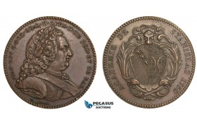 AA885, Poland & France, Bronze Medal 1750 (Ø33mm, 15.8g) by Borrel, Nancy Stanislas Academy