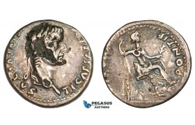 "AA890, Roman Empire, Tiberius (14-37 AD) AR Denarius ""Tribute Penny"" (2.36g) Lugdunum (Lyon), 18-35 AD, Pax, damaged on Obv."