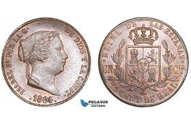 AA893, Spain, Isabella II, 25 Centimos de Real 1864, Segovia, Ch Red Brown UNC