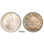 AA895, Switzerland, 1/2 Franc 1881-B, Bern, Silver, Toned UNC