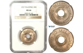 AA901, Palestine, 10 Mils 1927, London, NGC MS66