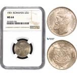 AA903, Romania, Carol I, 1 Leu 1901, Hamburg, Silver, NGC MS64
