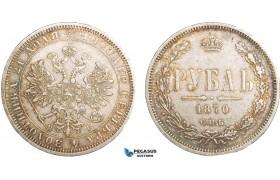 AA904, Russia, Alexander II, Rouble 1870 СПБ-НІ, St. Petersburg, Silver, Toned XF