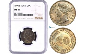 AA905, Straits Settlements, Victoria, 20 Cents 1891, Silver, NGC MS62